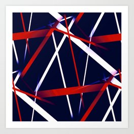 Seamless Red and White Stripes on A Blue Background Art Print