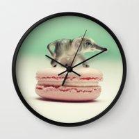 macaron Wall Clocks featuring Macaron Baby - Elephant (Pink) by Tiny Deer Studio