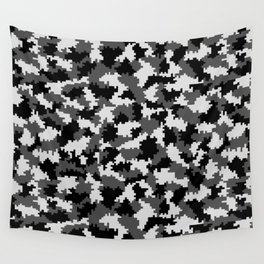 Camouflage Digital Black and White Wall Tapestry