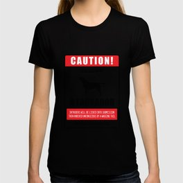 Caution Protect by a Labrador Dog Owner Labrador Dogs Gift T-shirt