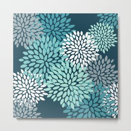 Modern Flowers Print, Teal and White Metal Print