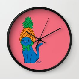 Blue Cat Wears Pineapple Hat Wall Clock