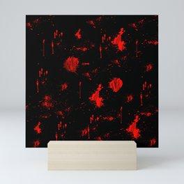 Red Paint / Blood splatter on black Mini Art Print