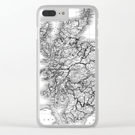 Vintage Map of Scotland (1832) BW Clear iPhone Case