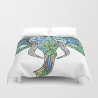 tatoo Duvet Covers featuring Tatoo Elephant by PepperDsArt