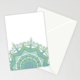 Blue and Green Flower Mandala II Stationery Cards