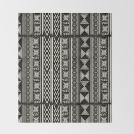 Boho Mud cloth (Black and White) Throw Blanket