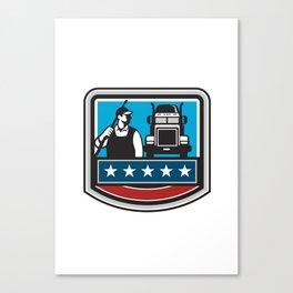 Pressure Washer Worker Truck Crest USA Flag Retro Canvas Print