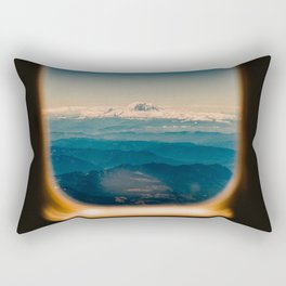 Mount Rainier seen through an airplane window Rectangular Pillow