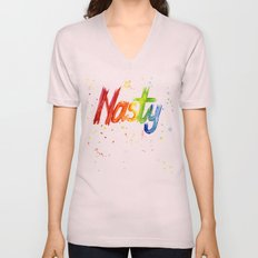 Nasty Woman Rainbow Watercolor Text Unisex V-Neck