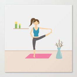 Yoga Girl In Extended Hand To Toe Pose Cartoon Illustration Canvas Print
