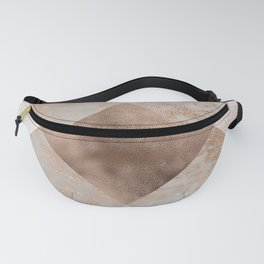 Copper and Blush Rose Gold Marble Gingham Fanny Pack