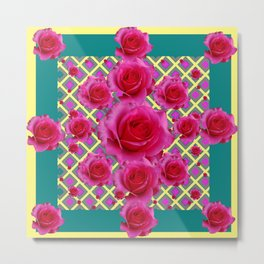 Fuchsia Roses  TEAL Art Pattern Abstract Metal Print