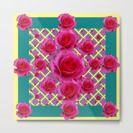 Fuchsia Roses  TEAL Art Pattern Abstract Metal Print