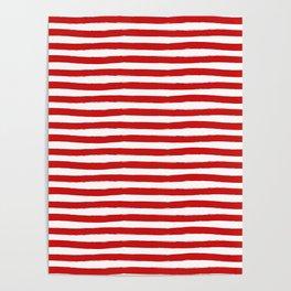 Red Horizontal Stripes Poster