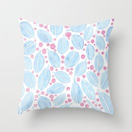 Blue Leaves and Pink Berries Throw Pillow