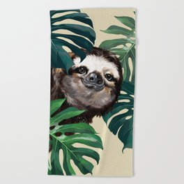 Sneaky Sloth with Monstera Beach Towel