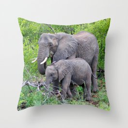 african elephant mother with baby Throw Pillow