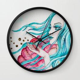Watercolor mermaid fantasy art Wall Clock