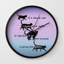 Black cat crossing Wall Clock