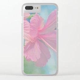Tender macro shoot of pink hibiscus flowers Clear iPhone Case