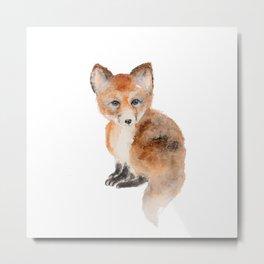 Baby fox watercolor  Metal Print