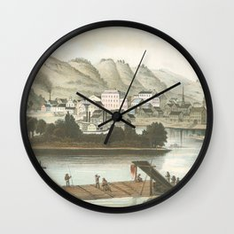 Vintage Pictorial View of Dubuque IA (1854) Wall Clock