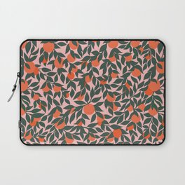 Oranges and Leaves Pattern - Pink Laptop Sleeve