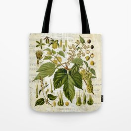 Common Hop Botanical Print on Vintage almanac collage Tote Bag