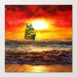 Black Pearl Pirate Ship Canvas Print