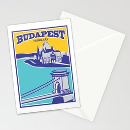 Budapest vintage poster, Chain Bridge Stationery Cards
