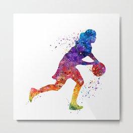 Girl Basketball Point Guard Colorful Watercolor Sports Art Metal Print