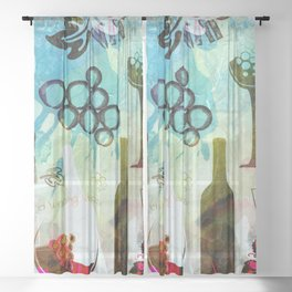 Abstract Wine Background Sheer Curtain