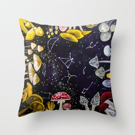 Mushrooms and Stars Throw Pillow