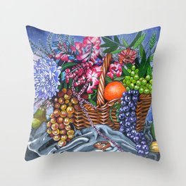 Plastic Fruits and Flowers Throw Pillow