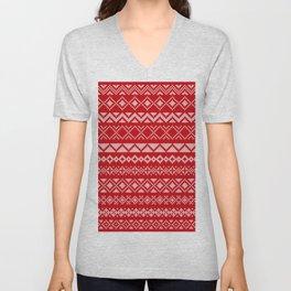 Cross Stitched Traditional Scandanavian Patterns Unisex V-Neck