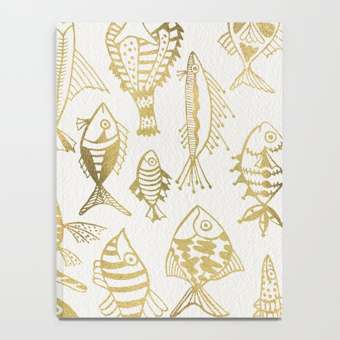 Gold-Inked Fish Notebook