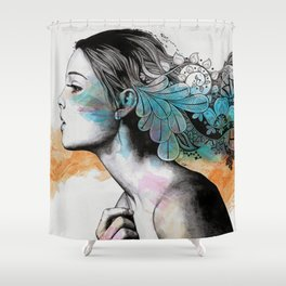Moral Eclipse II (portrait of woman with doodles sketch) Shower Curtain