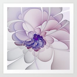 Coquette Purple Abstract Floral Art Print