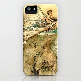 """""""Bear the Changeling to My Bower"""" Art by Arthur Rackham iPhone Case"""