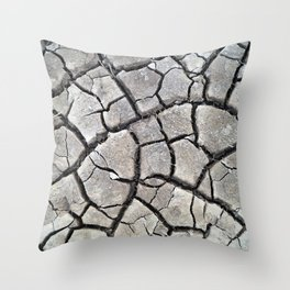dry cracked earth natural mud pattern texture Throw Pillow