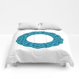 St. Patrick's Day Celtic Blue Mandala #2 Comforters