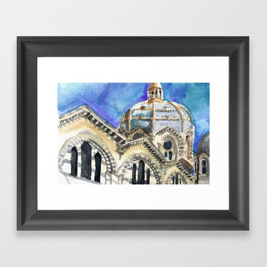 Marseille Cathedral Sketch Framed Art Print