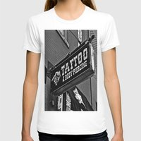tattoos T-shirts featuring Tattoos Here by Biff Rendar