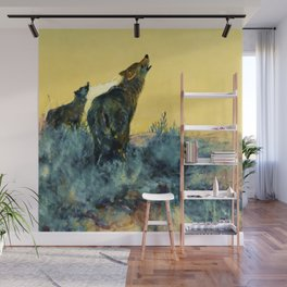 """Howling Wolf Sagebrush"" by W Herbert Dunton Wall Mural"