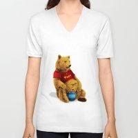 pooh V-neck T-shirts featuring Pooh by J ō v