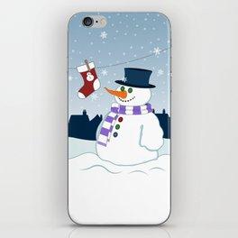 Snowman & Stocking Christmas Scene iPhone Skin