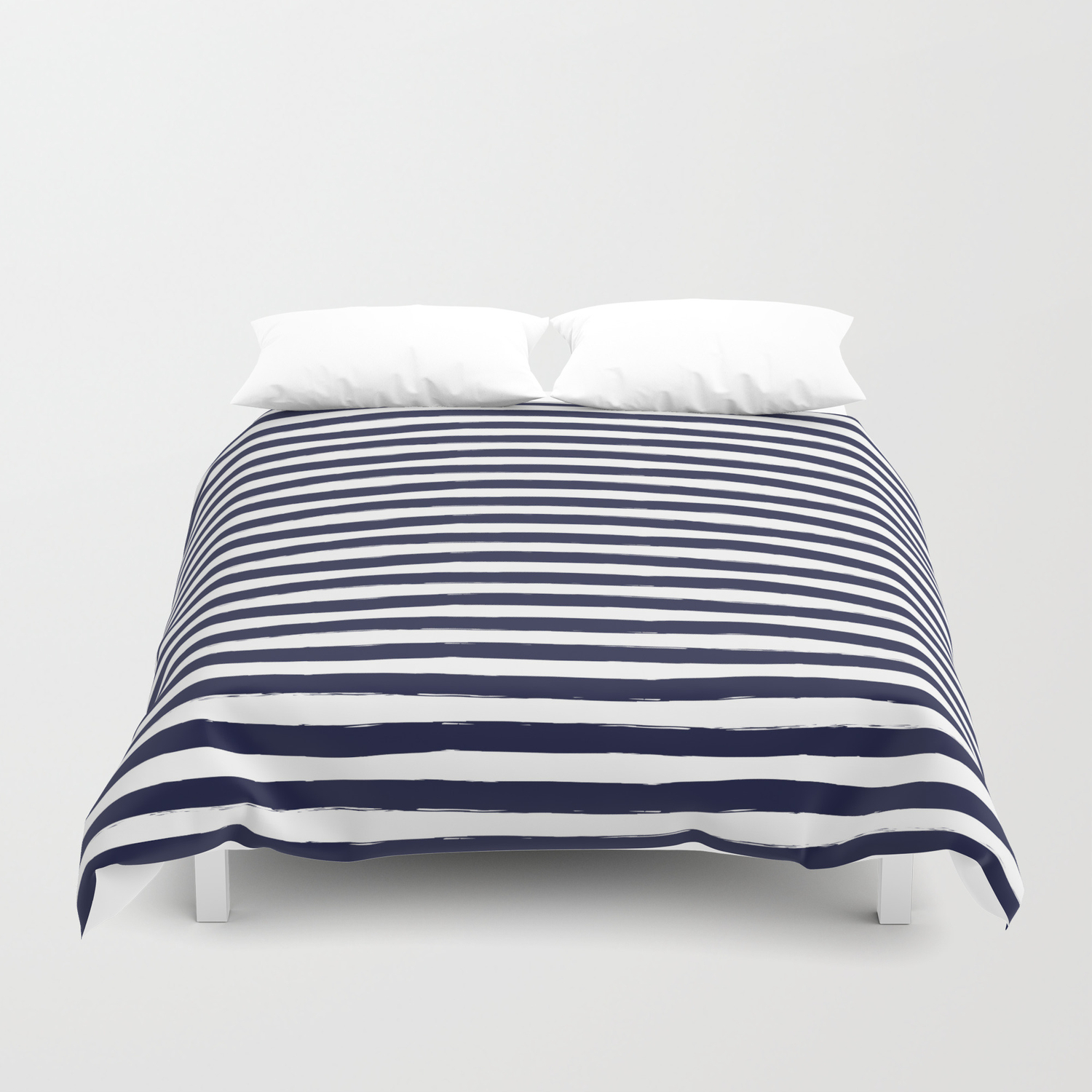 Navy Blue And White Horizontal Stripes Duvet Cover By Seafoam12 Society6