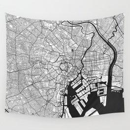 Tokyo Map Gray Wall Tapestry