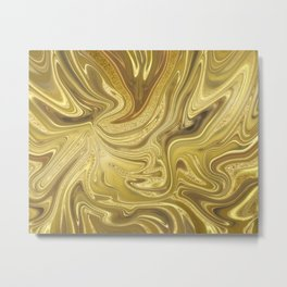 Rich Gold Shimmering Glamorous Luxury Marble Metal Print